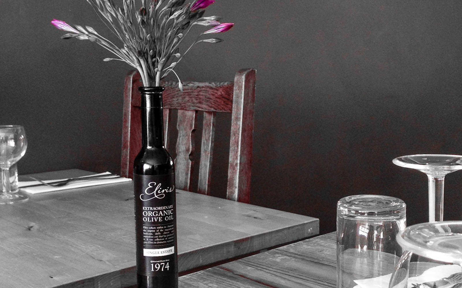Eliris organic olive oil at The Greeenhouse Restaurant, Cornwall