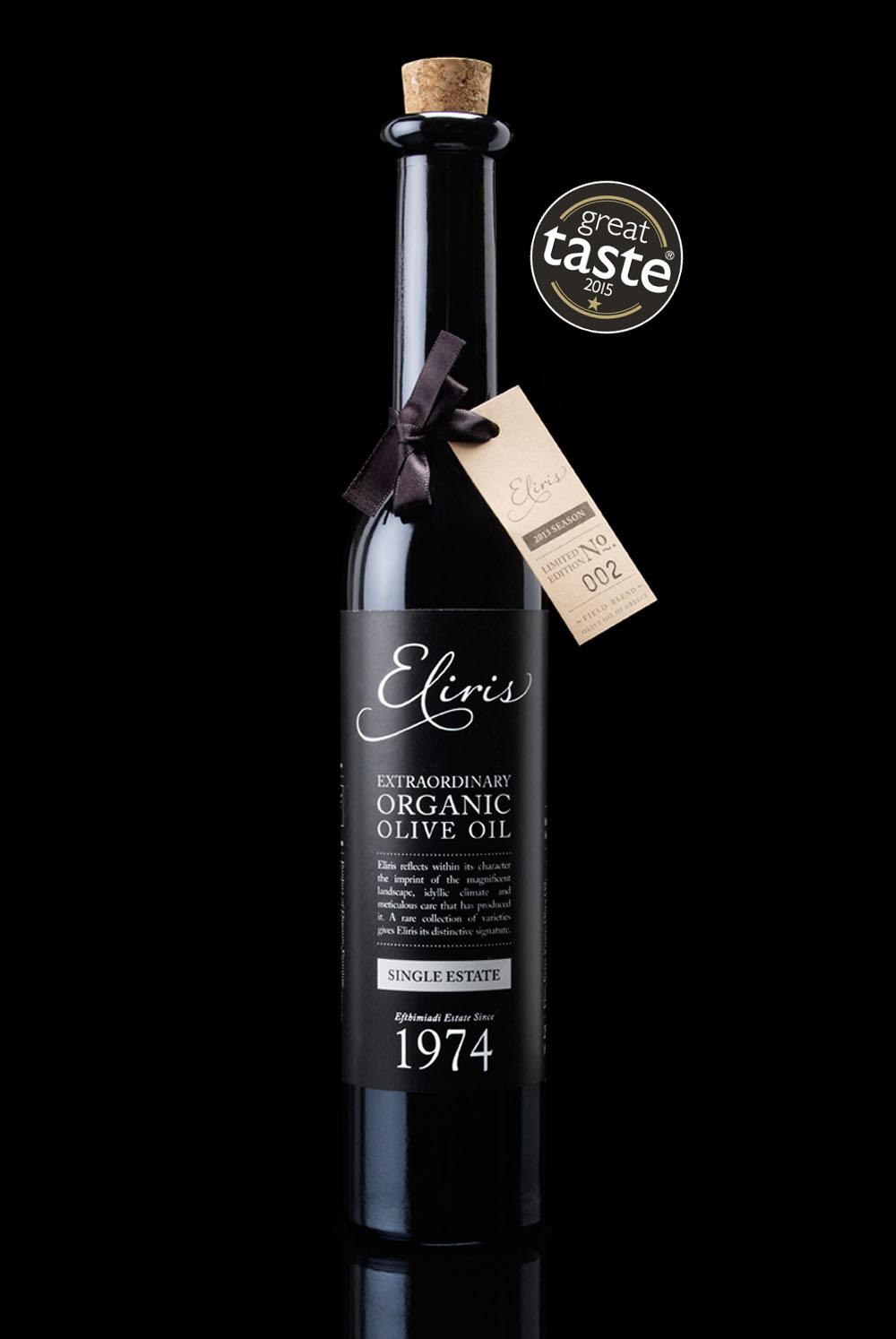 Eliris organic extra virgin estate olive oil Great Taste Award 2015